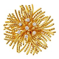 Tiffany & Co Diamond Anemone 18k Yellow Gold Brooch