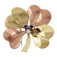 Tiffany & Co Diamond Sapphire 14k Rose Yellow Gold Brooch
