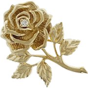 Tiffany & Co Diamond Rose 14k Yellow Gold Pin Brooch