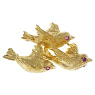 Tiffany & Co Ruby Triple Bird 18k Yellow Gold Brooch