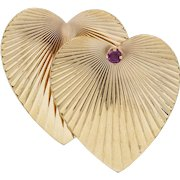 Tiffany & Co Ruby 14k Yellow Gold Heart Brooch