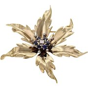 Tiffany & Co Diamond Sapphire Flower 14k Yellow Gold Brooch