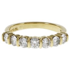 Tiffany & Co 7 Diamond 18k Yellow Gold Wedding Band Ring