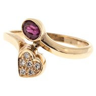 Oval Ruby Round Diamond 14 Karat Yellow Gold Bypass Heart Shape Ring