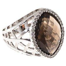 Marquise Brown Topaz Diamond 14 Karat White Gold Cocktail Ring