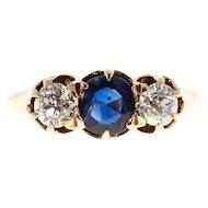 Sapphire Diamond Old European Cut 14 Karat Yellow Gold Three Stone Engagement Ring
