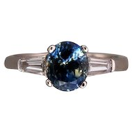 Vintage 2.41ct Rare Green Blue Oval Blue Sapphire Platinum .44ct Baguette Ring