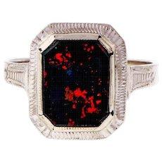 1940s Octagonal Bloodstone 14k White Gold Ring