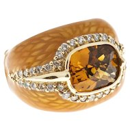 Haggai Citrine Diamond 14 karat Yellow Gold Enamel Cocktail Ring