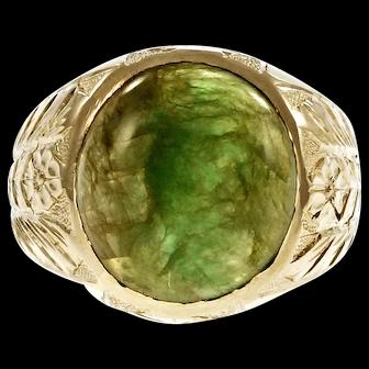Men's Natural GIA Certified Jadeite Jade 14k Yellow Gold Ring