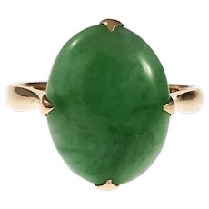 Oval Jadeite Jade 14k Rose Gold Cocktail Ring