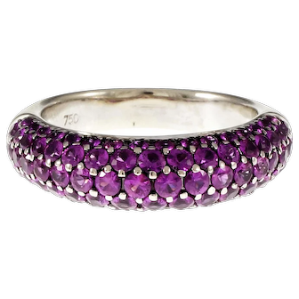 Pink Sapphire 5 Row 18k White Gold Ring