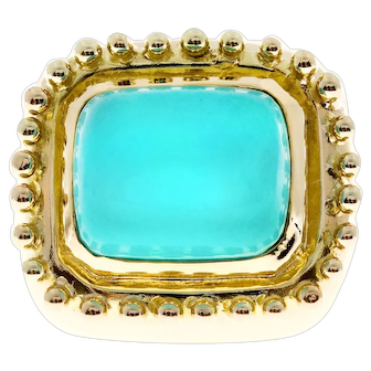 Natural Turquoise 14k Yellow Gold Cocktail Ring