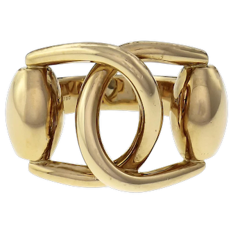 Gucci Double Buckle Ring 18k Solid Yellow Gold