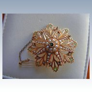 Demantoid Garnet & Seed Pearl Pendant/Pectoral Brooch in 15 K Rose Gold