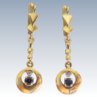 Sapphire and Diamond 18 k Mid Century Retro Era Drop Earrings