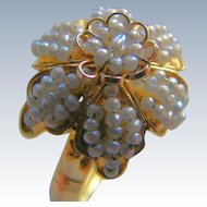 Georgian Natural Seed Pearl Floral Girandole 18 k  Ring