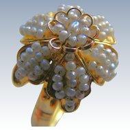 Georgian Natural Seed Pearl Floral Girandole 18 k  Ring
