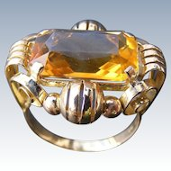 Retro Mid Century 14 k Rose Gold Natural Citrine Ring