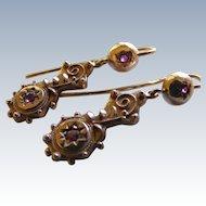 Ruby Star Set Etruscan Revival Chandelier 9 k Rose Gold Earrings