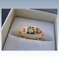 Victorian Star Bead Set Diamond and Coral Love Token Ring