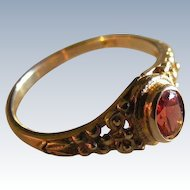 Garnet and Floral Inspired Art Nouveau Ring