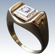 Men's Vintage Mid Century Ring with White Zircon