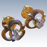 Unique Early Cut Diamond Post Earrings