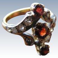 Victorian Red Garnet and European Old Mine Cut Diamond Antique Ring