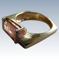 Mid Century Modern Bi Color Pink Tourmaline and Diamond Ring