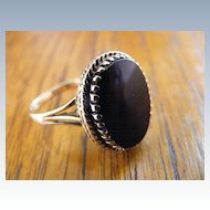 Vintage Oval Onyx Plaque Style Ring