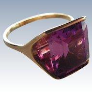 Vintage Lab Purple Sapphire Modernist styling Ring