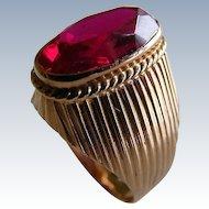 Vintage Russian Soviet Era Lab Ruby 14 k Rose Gold Ring