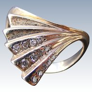 Mid Century Retro Diamond Fluted Fan Shaped Ring