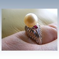 Cultured Akoya Pearl and Ruby, 14 k White Gold Ring
