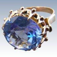 Antique Edwardian Large Natural Blue Zircon Belle Epoque Ring
