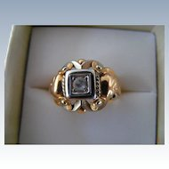 Art Nouveau  18 k White and Rose Gold Ring with Zircon