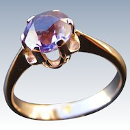 Vintage Russian Amethyst Solitaire 14 k Rose Gold Ring