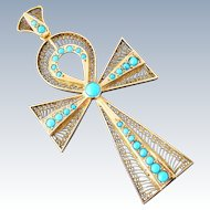 Large Art Deco Egyptian Revival Turquoise Ankh Cross Pendant