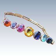 Vintage Tourmali Style Multi Colored Stone Set Bracelet