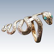 Antique Snake Serpent Ring with Natural Turquoise Eyes, 12 k Light Rose Gold