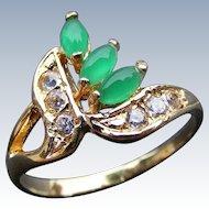 Art Deco Era Green Chrysoprase and Diamond Ladies Ring