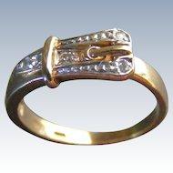 Vintage Belt, Buckle or Garter Ring with Diamonds