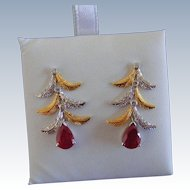Vintage Ruby and Diamond Earrings, 18 k Gold