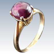Vintage Cabochon Deep Red Ruby Solitaire Ring