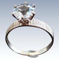 Mid Century Hexagon Blue Topaz Ring