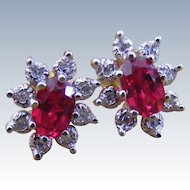 Vintage Synthetic Ruby and Diamond Cluster Earrings