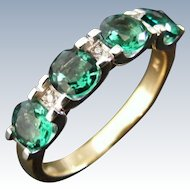 Mid Century Green Tourmaline and Diamond Anniversary Dress Ring