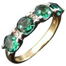 Mid Century Green Tourmaline and Diamond Anniversary Dress Ring