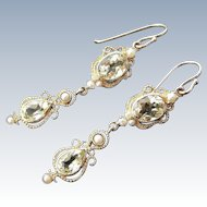 Vintage Pale Green Spinel and Seed Pearl Chandelier Earrings